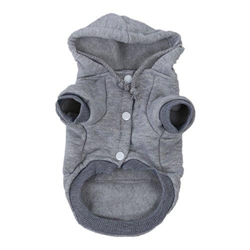 Strickwaren Kleidung fuer Haustier - SODIAL(R) Katzen/ Hunde-Bekleidung Winter Warme Strickhundejacke mit Kapuze Weihnachtswelpen Mantel Kleidung (Grau, XS)