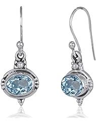 aden' S jewels-boucles pendientes topacio bleue-ovale-argent-femme-bleu-dimension Bo 25x 10mm-disponible en juego con el colgante Assorti