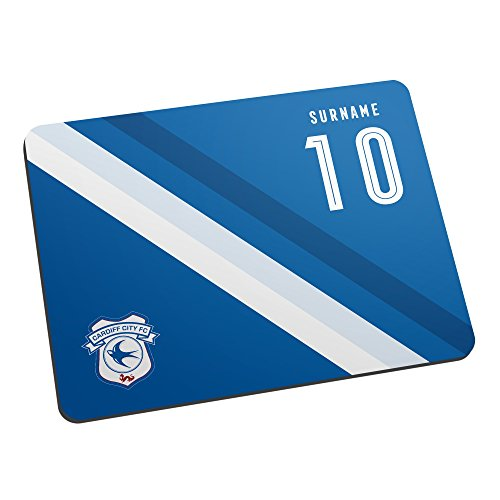 Cardiff City Official PERSONALISED Stripe Mouse Mat - FREE PERSONALISATION