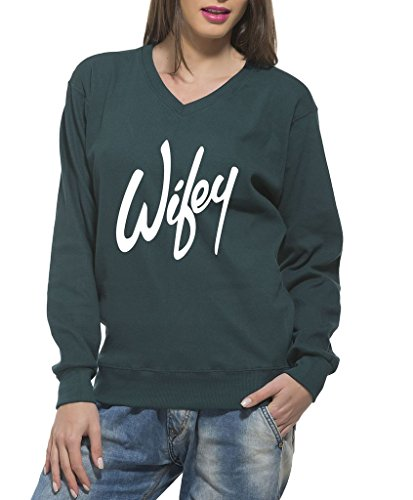 Clifton Women's Printed Sweat Shirt V-neck-Bottle Green -Wifey -8XL