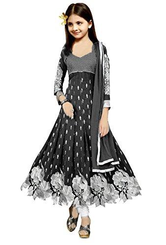 JDS FASHION New Girls Silver Zari Work Black Georgette Long Anarkali Salwar Suit/Dress (JDS 8-11 Yrs Salwar Suit Sets)  available at amazon for Rs.499