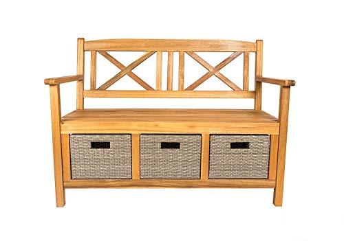 SAM Möbel Outlet Gartenbank Flora, 121x60 cm aus Akazie, Natur, geölt, inkl. 3X Polyrattan-Korb, Garten-Möbel aus Holz