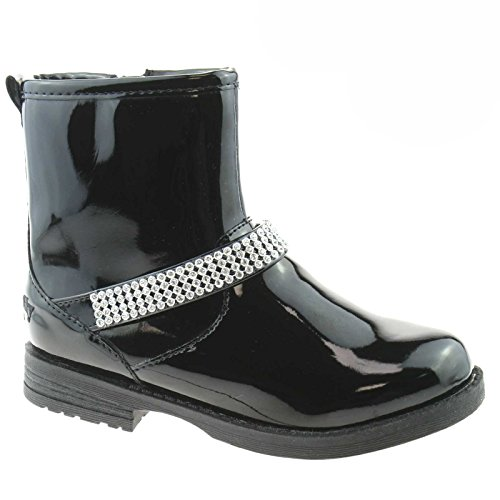 DB01) Dorothy Nero Vernice Ankle Boots-24 (UK 6.5) (Kinder Schuhe Dorothy)