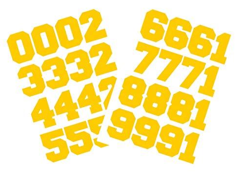Sport Helm Zahlen 3,8cm von chalkallaboutit Baseball, Hockey, Fußball und Lacrosse, gelb -