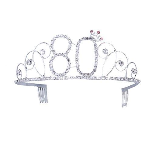 Frcolor Krone Geburtstag 80 Diadem Tiara mit Haarkamm Kristall Strass Silber Geburtstagsgeschenk 80 Jahre für Frauen