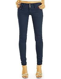 Bestyledberlin Damen Stoffhosen, Hüftige Skinny Fit Hosen, Farbige Basic Sommerhosen j75i