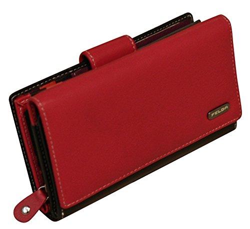 Cartera para mujer - Con bloqueo de transmisiones RFID y 20 ranuras para tarjetas - Cuero auténtico muy suave - Rojo y negro