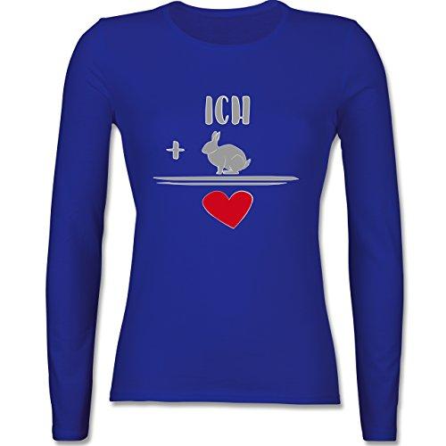 Sonstige Tiere - Hasen-Liebe - tailliertes Longsleeve / langärmeliges T-Shirt für Damen Royalblau