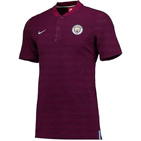 2017-2018 Man City Nike Authentic Grand Slam Polo Shirt (True Berry)
