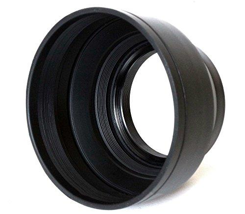 BlueBeach® 62mm 3 in 1 Gegenlichtblende Gummi Hood Canon Nikon Olympus Sony Pentax Leica (Gegenlichtblende 62mm Canon)
