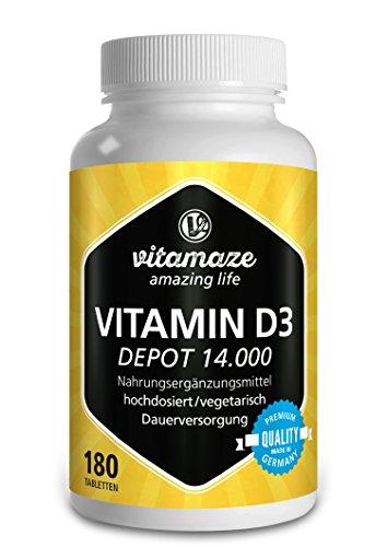 Vitamaze Vitamina D3 a rilascio prolungato 14.000 UI ad alto dosaggio (14 giorni), 180 compresse vegetali, qualità tedesca, Confezione unica (1 x 108 g)