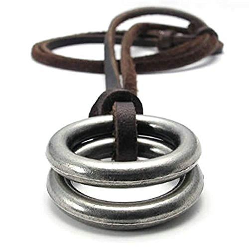Adisaer Plaqué Or Homme Collier Pendentif en Cuir - Double Rings Vintage Réglable 16~26 Pouces Chaîne
