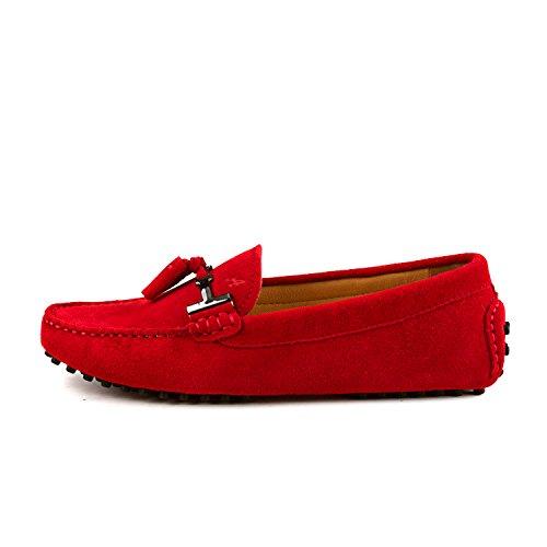 Shenduo Classic, Mocassins femme daim - Loafers multicolore - Chaussures bateau & de ville confort D7057 Rouge