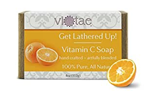 """VITAMIN C SOAP - 100% Pure, All Natural, Certified Organic Aromatherapy Herbal Bar Soap For Hand & Body - """"Get Lathered Up."""" You Will LOVE This!"""