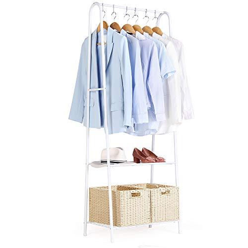 Perchero Perchero de hierro Perchero de Burro Colgador para ropa Multifuncional Perchero de Pie Zapatero con 2 estantes de metal para organizar la ropa Ideal para Hogar y Oficina-61x36x163cm-Blanco 02
