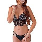Mymyguoe Damen Spitze Dessous Set Erotik Bra Top Nachtwäsche Kostüm Babydoll Bügelloses Bikini BH G-String Slips Thong Unterwäsche Push up BH + Panty für Frauen