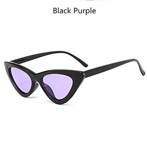 KLXEB Kleine Katze - Auge Sonnenbrille Frauen Sonnenbrille Retro Cool Sexy Dreieck Weiblichen Sonnenbrille Uv400, Schwarz Lila