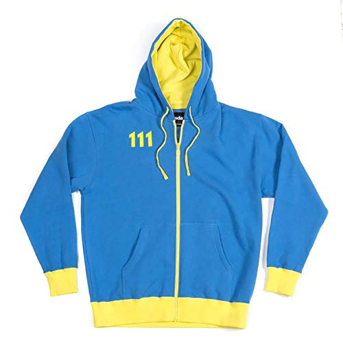 fallout hoodie Fallout Vault 111 Men's Hoodie, Blue/ Yellow, X-Large