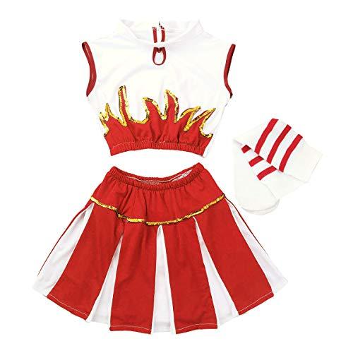 Zehn Kostüm Top - Freebily Kinderkostüm Cheer Mädchen Cheerleading Kostüm Outfit Ärmelloses Crop Top Rock Socken Set Dancewear Set für Karneval Fasching Cosplay Kostüm Rot 128-140/8-10Jahre