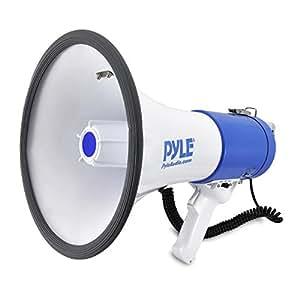 Mégaphone Professionnel Piézo Dynamique 30 Watts Pyle avec Sirène et Microphone amovible.