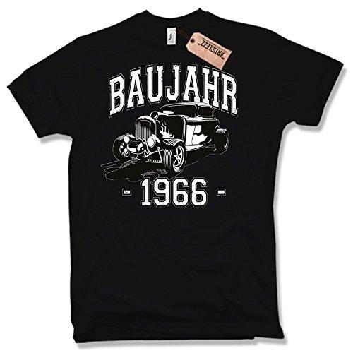 BAUJAHR 1966, Hot Rod, 50. Geburtstag, verschiedene Farben, Gr. S - XXL Schwarz / Black