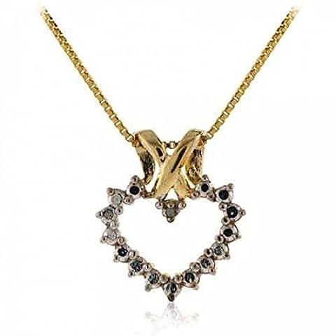 Exquisiter Herz Ketten-Anhänger mit Diamant, 14 Karat Gold Vermeil