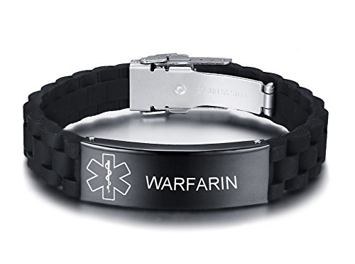 Vnox bracciale regolabile personalizzato in gomma personalizzata in silicone nero personalizzato per uomo in acciaio inossidabile,warfarin