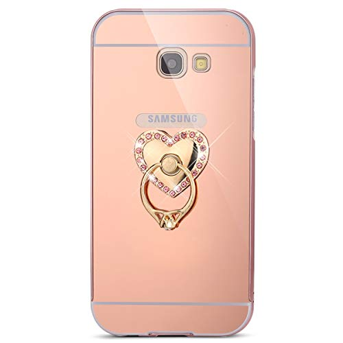Surakey Cover Samsung Galaxy A3 2017, Specchio Plastica Rigida Cover con Anello Supporto Bling Strass Glitter Diamante Lusso Hard Case Ultra Sottile Custodia per Galaxy A3 2017,Cuore d'Amore Oro Rosa