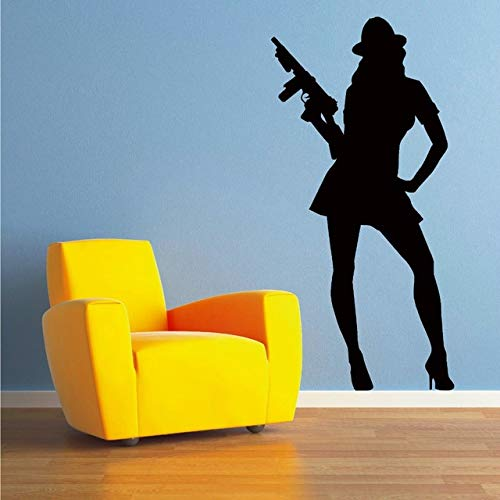 RUBY STORES - Sexy Gangster Woman Moll Wall Stickers for Living Room Home Murals Vinyl Waterproof Decals Bedroom Girls Hobby Art Sticker YY237 Wall ()