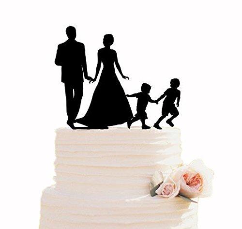 Hochzeitstorte Topper Family Cake Topper mit Kinder-Silhouette Topper mit 2 Jungen Custom Cake Topper Cake Decor Hochzeit Ideen