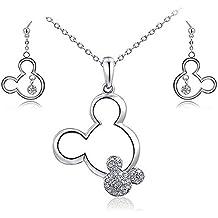 Rrunzfon Collar del ratón Mickey y plateado platino pendiente cristalino acentos de Minnie Mouse