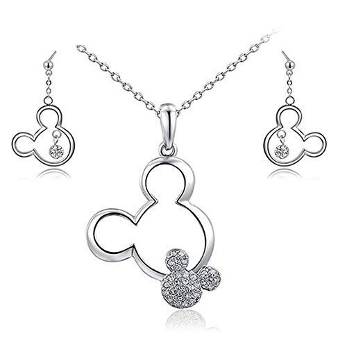 Astilla de plata pendiente linda y juego de los pendientes del collar de cristal Pendientes Mouse Set joyería para niñas adolescentes regalos de cumpleaños de Navidad Mujeres