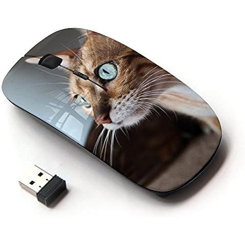 Peculiar-Star ( Savannah Serengeti Blue Eyes Playing Cat ) Impreso colorido ultrafino sin hilos óptico del ratón de 2,4 GHz-Negro