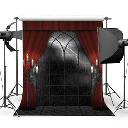 GzHQ 5X7FT Gotik Kulisse Regen Nacht Nacht Vinyl Kerzenständer Französische Schärpe Rote Vorhang...