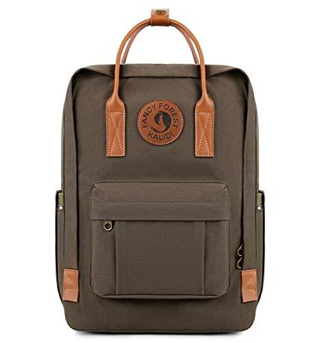 KALIDI Rucksack/Daypack Rucksack Mädchen Jungen & Kinder Damen Herren Schulrucksack mit laptopfach für 15 Zoll Notebook (Grau mit Leder) (Notebook-rucksack Damen Leder)