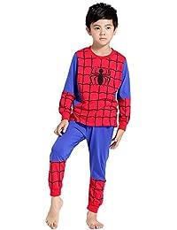 Chicos Pantalones de pijama de Spiderman para niños de 3 a 9 años de edad los niños de algodon de manga larga con puño elástico