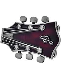 Bai You Mei Adulto Guitarra Unisex Music Headstock Cinturón Hebillas, Western Vintage hechos a mano Cowboy hebillas Rojo