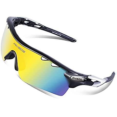 RIVBOS 801 Polarized Sports Sunglasses with 5 Interchangeable Lenses for Men Women Cycling Running Glasses(TR Black)