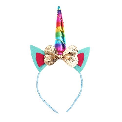 Children Unicorn Headband Hair Hoop Bow Knot Headdress Headpiece for Party Decoration (Gold)