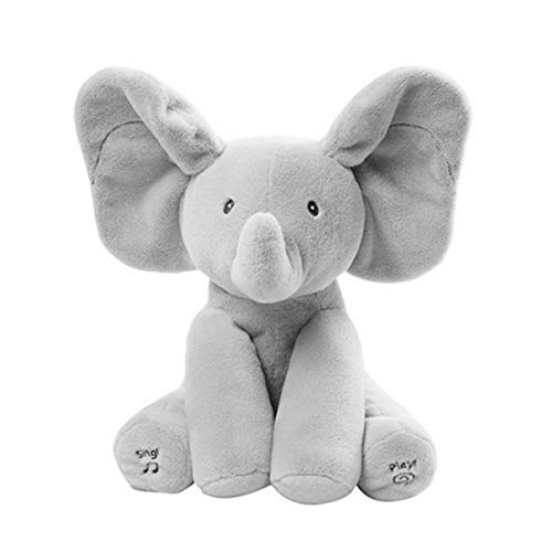 elephantéTM Flappy Ear Elephant Plush Toy Sings 4 Nursery Rhymes and Plays Peekaboo with Your Baby