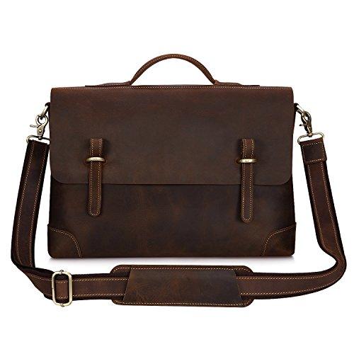 Kattee echtes Leder Messenger Tasche Handtasche, 15 Zoll Laptop Aktentasche Dunkel Kaffee (Leder Tragetasche Tasche)