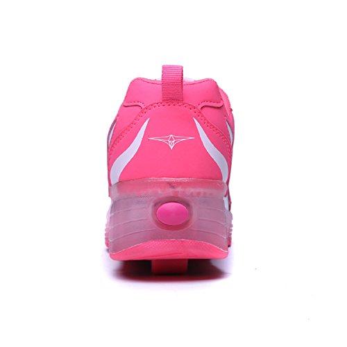 LILY999 Unisex Kinder Led Schuhe Mit Rollen Jungen Mädchen Skateboard Rollschuhe mit ein Rad 7 Farbe Farbwechsel Sneaker Weiß Rosa
