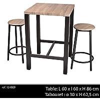 Vislone Lot Table De Bar En Bois Et Chaise De Repose Pieds Table