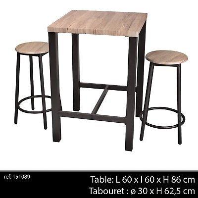 LIFE DECO Table DE Bar APPOINT + 2 Chaise Tabouret Industriel Bois ET Metal DESSERTE LOFT Cuisine