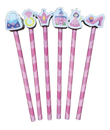 12x Pretty Pink Princess HB Bleistifte mit großen Form Radiergummi Topper. Ideal Party Beutel, Ende der Term Geschenk, Student Geschenk oder Strumpffüller