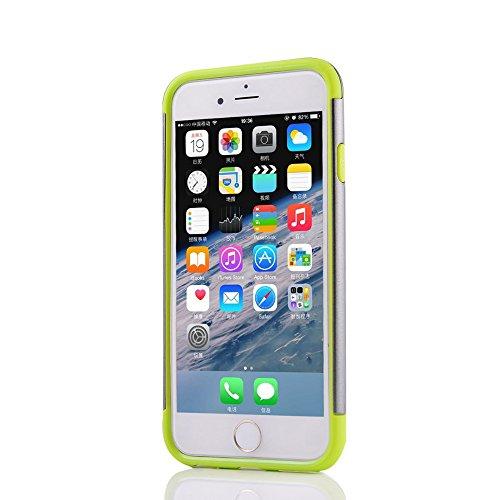 UKDANDANWEI Apple iPhone 6s Souple Flexible TPU Coque + Dur PC Case étui 2 in 1 Dual Layer Defender Armor Slim Frame Protecteur Back Cover Bumper Antichoc et Anti-rayures et Anti Dérapant für Apple iP Gris /vert