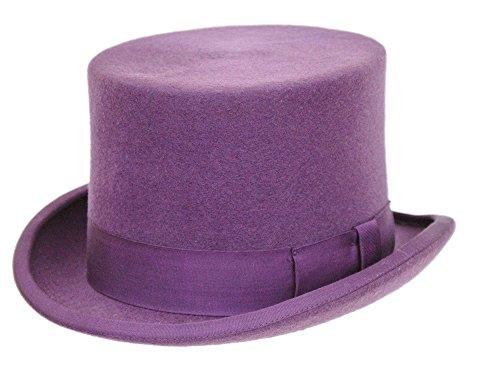 Willy Männer Wonka Kostüm - Herren Formale Wolle Lila Top Hat Gr. Large, violett