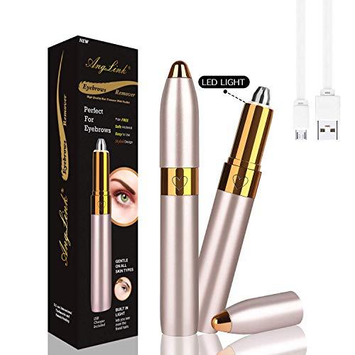 AngLink Augenbrauentrimmer Elektrisch, Augenbrauenrasierer Elektrisch USB für Damen Augenbrauen Rasier Eingebautes Helles mit Einer Reinigungsbürste (Gold)