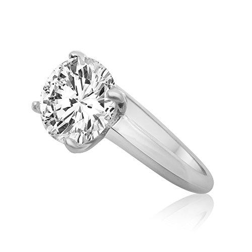 Velini, Solitaire anello di fidanzamento R5172, in argento Sterling 925, qualità AAA zirconia cubica, brilla come un diamante, 6mm, 4punte, argento, 19, cod. R5172-60