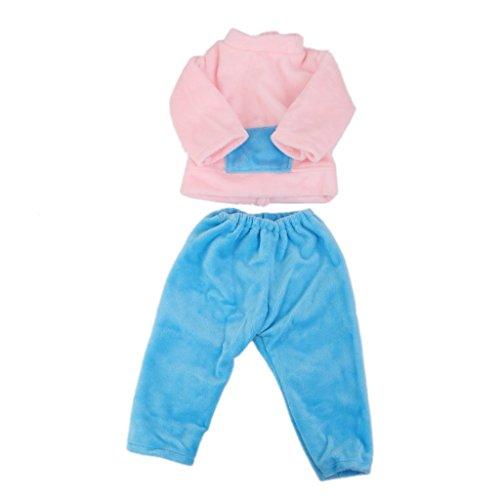 jinzhicheng 2Pcs/Set 45,7cm Puppe Casual Kleidung Bluse Pants Set (Pink mit Blau) (La-de-da-puppe Kleidung)